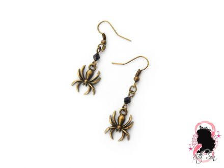 Antique Bronze Spider Earrings